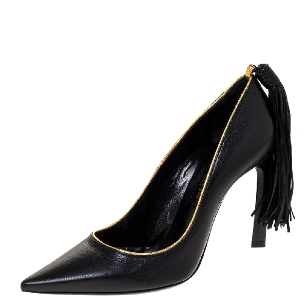 Lanvin Black Leather Tassel Embellished Pumps Size 36