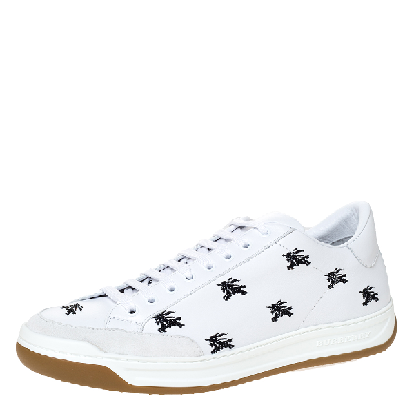 Burberry White Knight Embroidered Leather Timsbury Sneakers Size 45