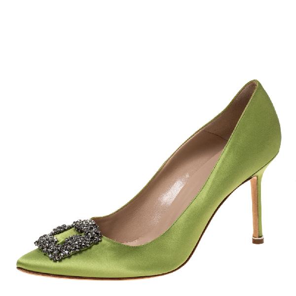 Manolo Blahnik Lime Green Satin Hangisi Pumps Size 41