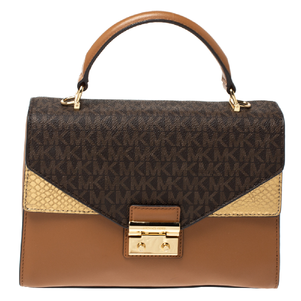 Michael Kors Tri Color Monogram Coated Canvas And Leather Kinsley Top Handle Bag In Multicolor