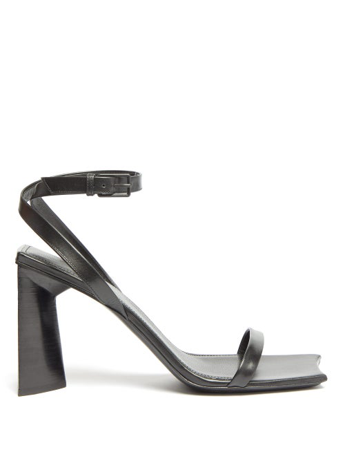 Balenciaga Moon Square-toe Leather Sandals In Black