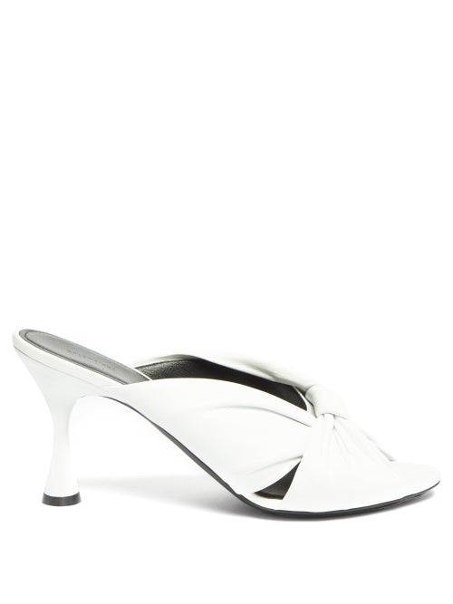 Balenciaga Drapy Knot-front Leather Mules In White
