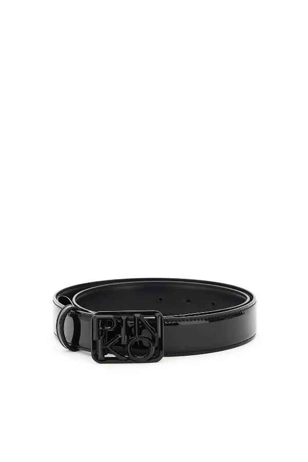 Pinko Fischio Patent Belt With Logo Buckle In Black