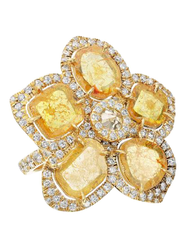 Nina Runsdorf Yellow Slice Diamond Flower Ring In Gold