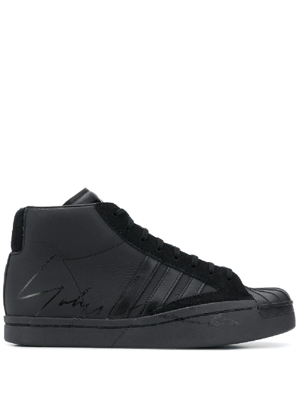 Y-3 Lace-up Leather Sneakers In Black