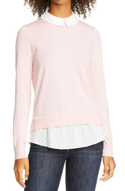 Ted Baker Ohlin Mixed Media Layered Sweater In Dusky-pink