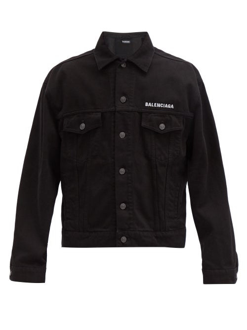 Balenciaga Crew Black Embroidered Denim Jacket