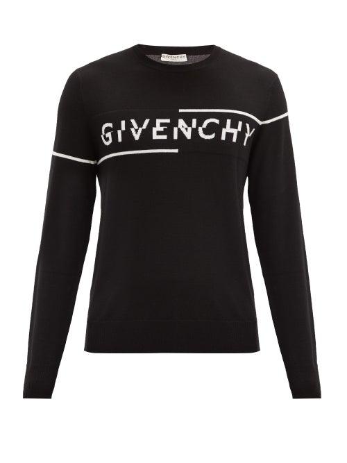 Givenchy Intarsia Logo Knit Sweater Black/white In 004 Blk/wht
