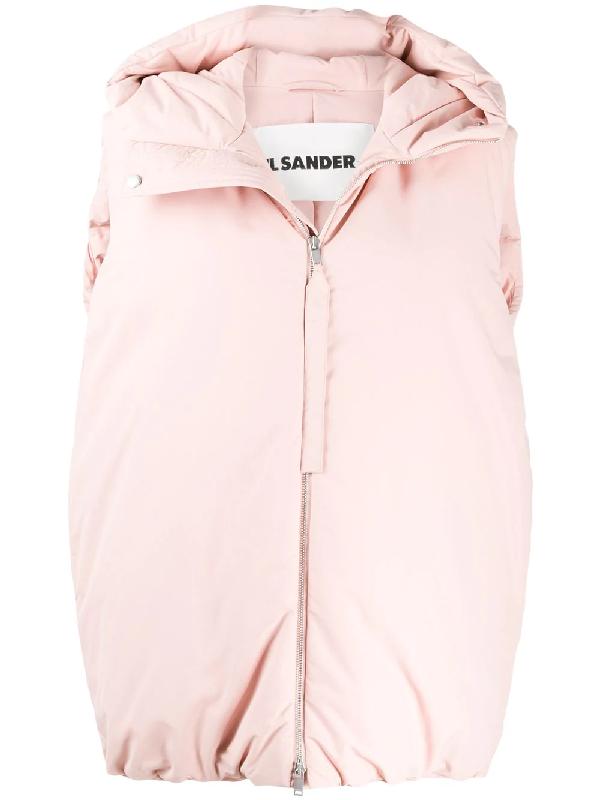 Jil Sander Padded Oversized Gilet In Pink