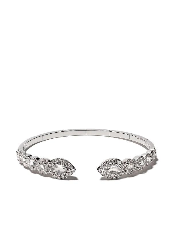 David Morris 18kt White Gold Rose Cut Flexi Pearshape And Round Diamonds Bangle