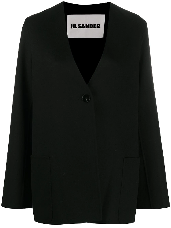 Jil Sander Cashmere V-neck Jacket In Black