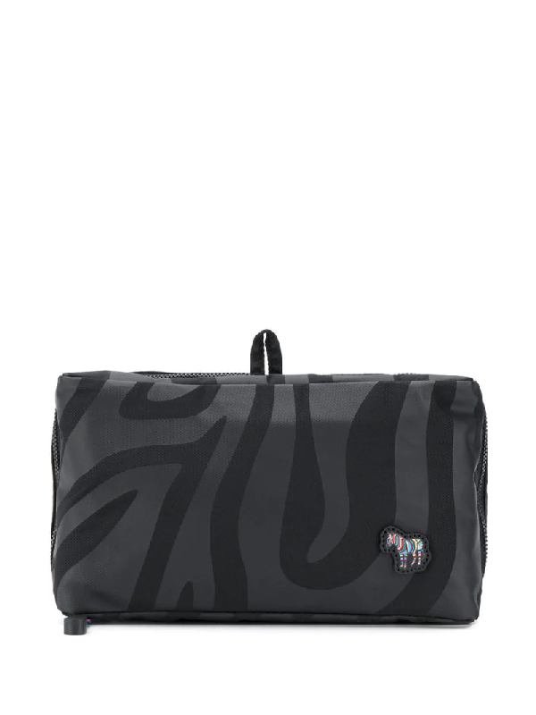 Ps By Paul Smith Animal Print Wash Bag In Black
