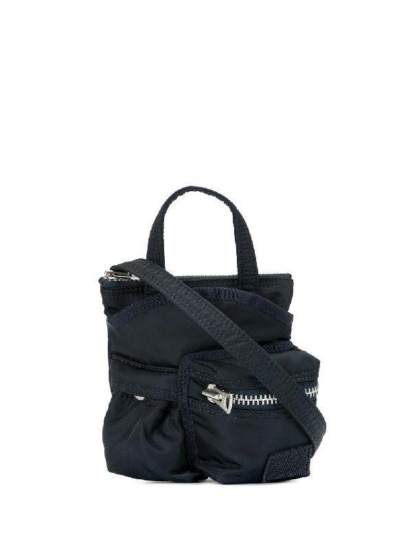 Sacai Zipped Pocket Mini Bag In Blue