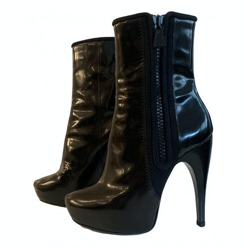 Lanvin Black Patent Leather Ankle Boots
