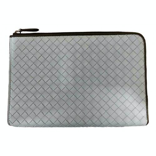 Bottega Veneta Blue Leather Clutch Bag