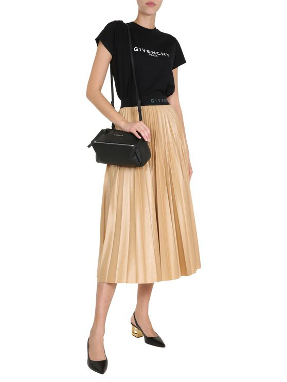 Givenchy Camel Pleated Coated Jersey Midi Skirt In Neutral