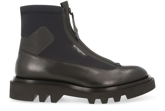 Givenchy Logo Leather & Neoprene Combat Boots In Black