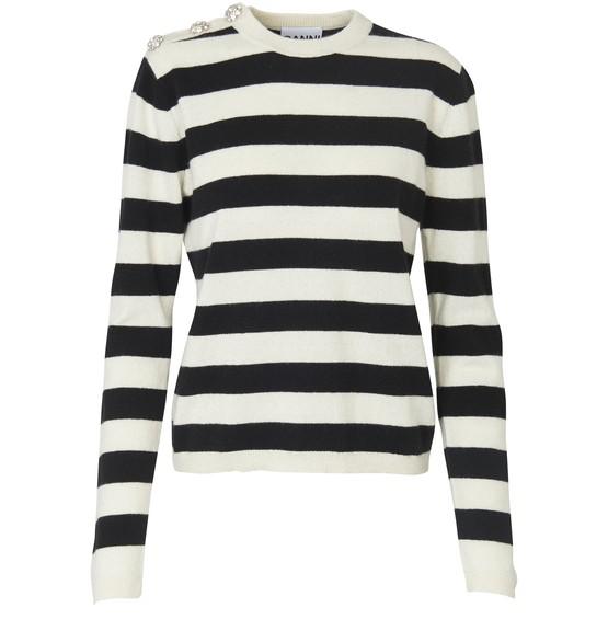 Ganni Crystal-button Striped Cashmere Sweater In Neutrals