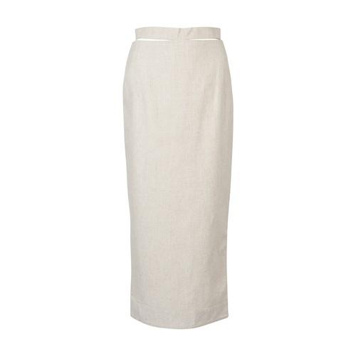 Jacquemus Linen & Viscose Midi Pencil Skirt In Neutrals