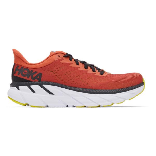 Hoka One One Orange And Black Clifton 7 Sneakers In Chilli/blac