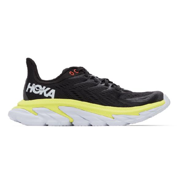 Hoka One One Clifton Edge Running Sneakers In Black/volt