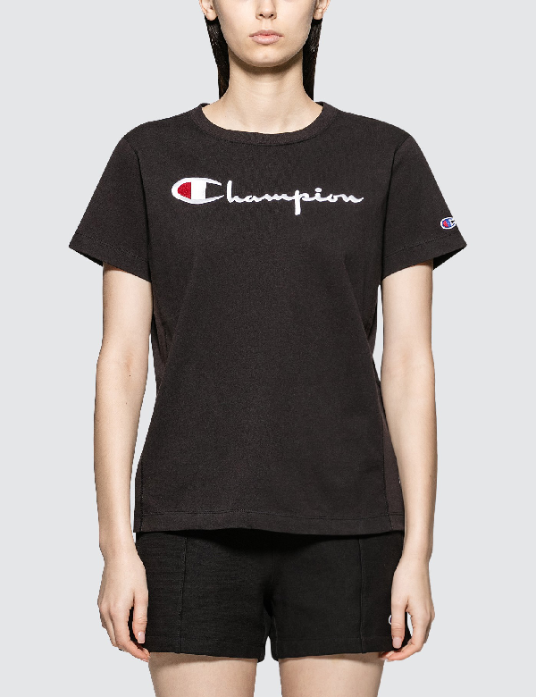 Champion Logo Script Logo Short Sleeve T-shirt In Black