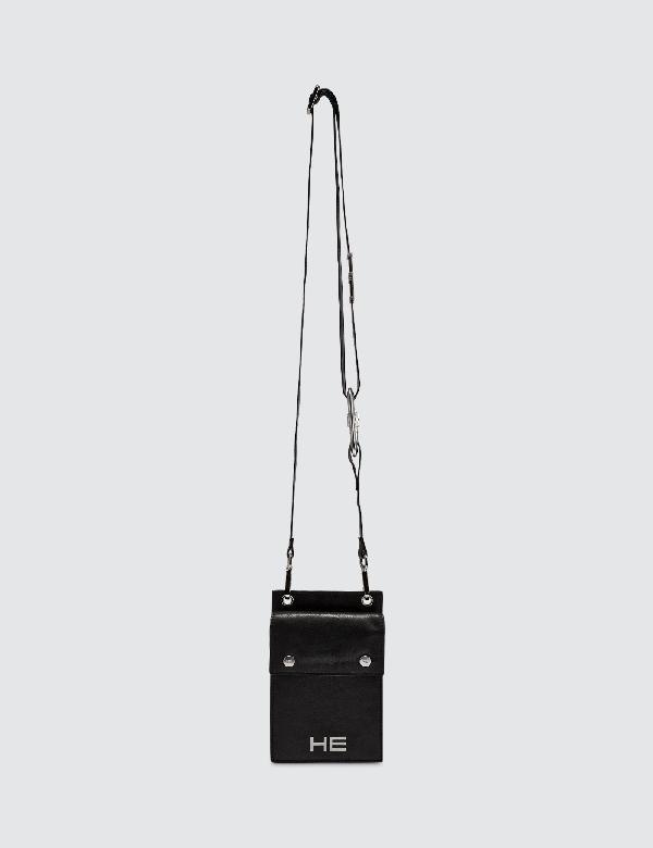 Heliot Emil Leather Phone Sling Bag In Black