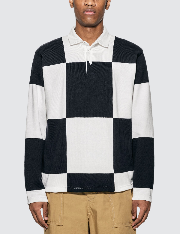 Rowing Blazers Checkered Rugby In Dark Navy/white