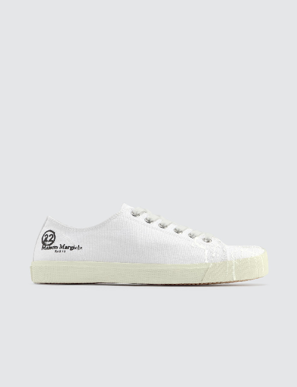 Maison Margiela Tabi Split-toe Low-top Leather Trainers In T1003 White