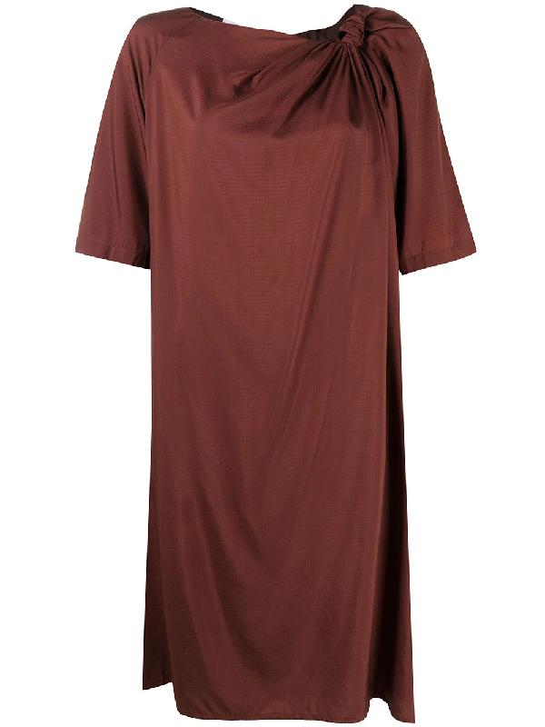 Christian Wijnants Deka Knot-detail Dress In Brown