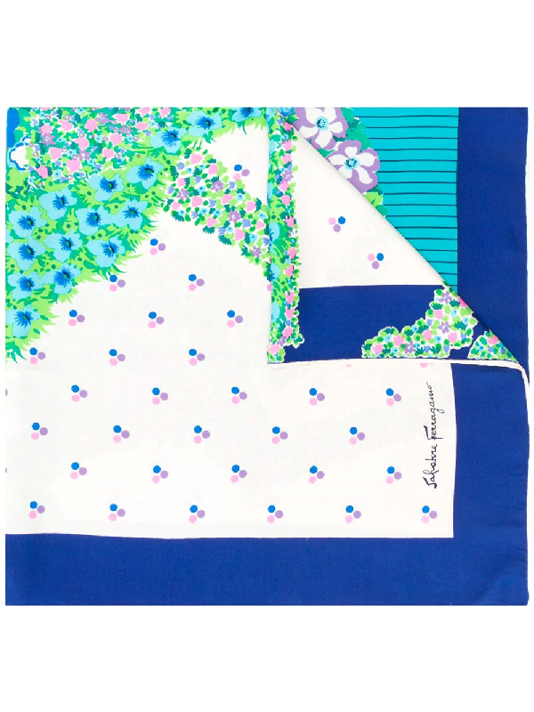 Salvatore Ferragamo 1970s Floral Print Scarf In Blue