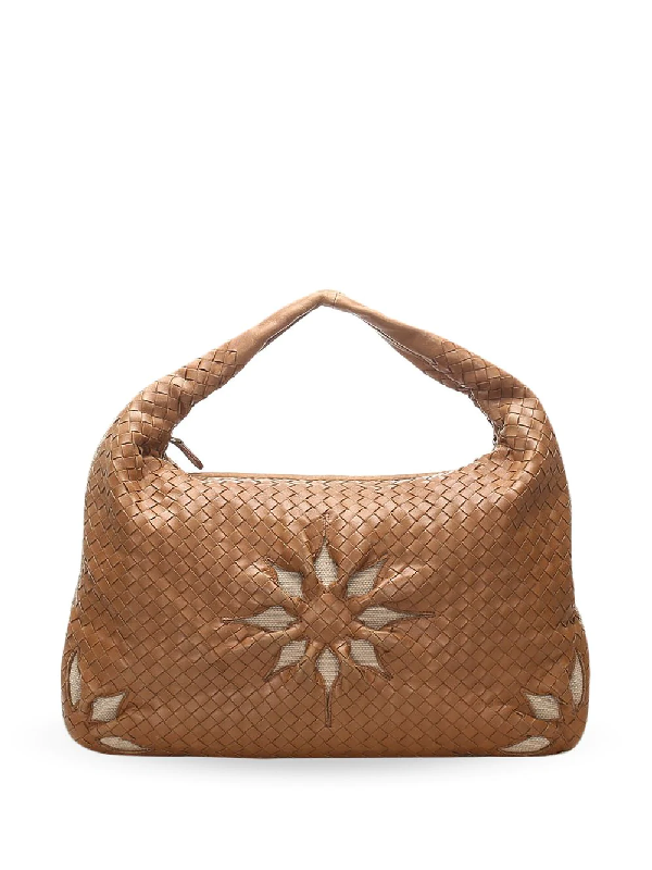 Bottega Veneta Flower Motif Intrecciato Shoulder Bag In Neutrals