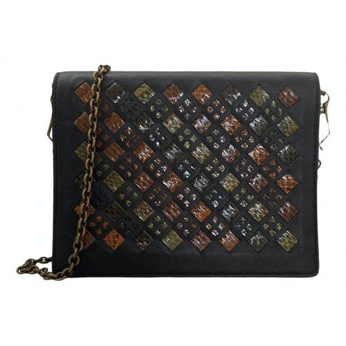 Bottega Veneta Black Leather Clutch Bag