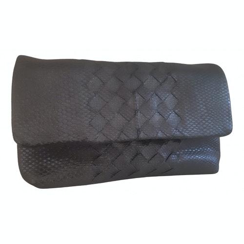 Bottega Veneta Grey Lizard Clutch Bag