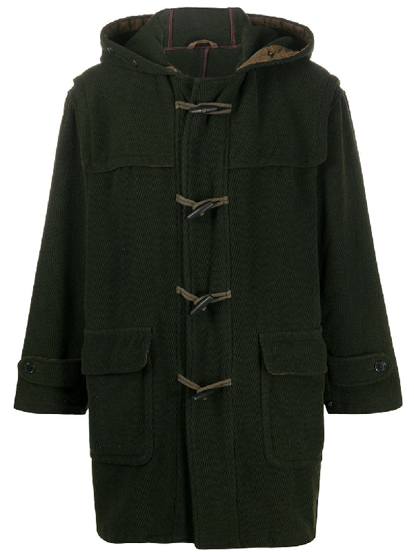 A.n.g.e.l.o. Vintage Cult 1990s Hooded Duffle Jacket In Green