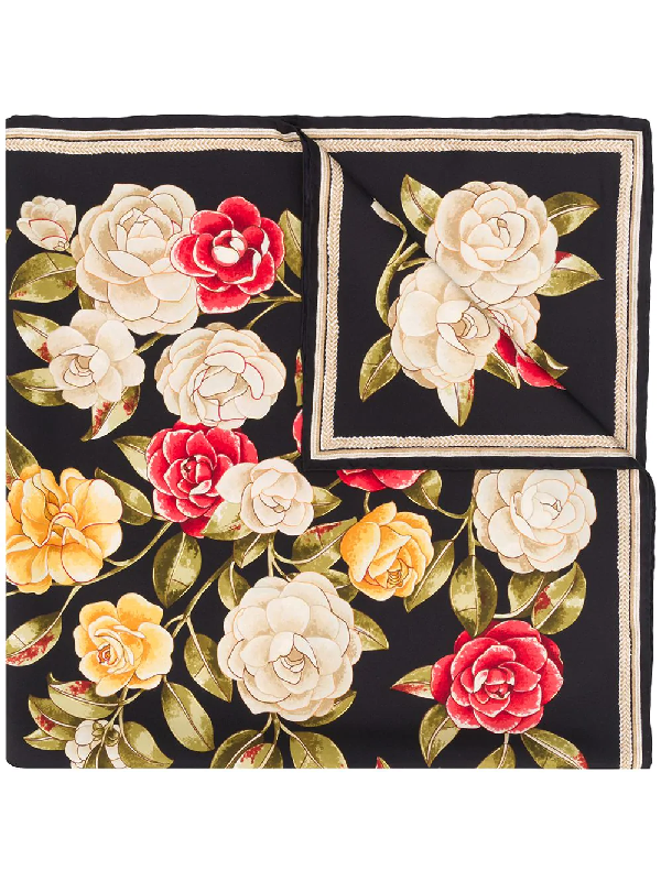 Chanel 1990s Rose Print Scarf In Black