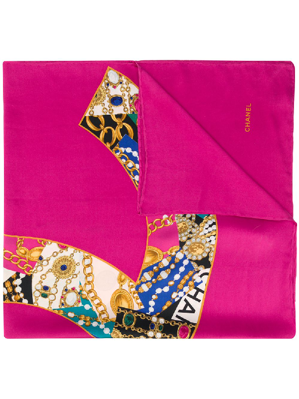 Chanel 1990s Jewellery Print Scarf In Pink