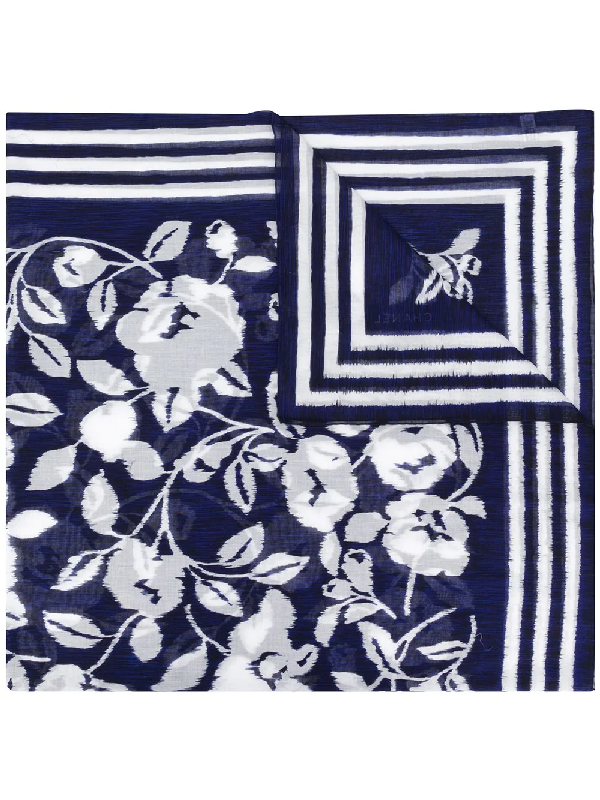 Chanel 1990s Floral Print Scarf In Blue