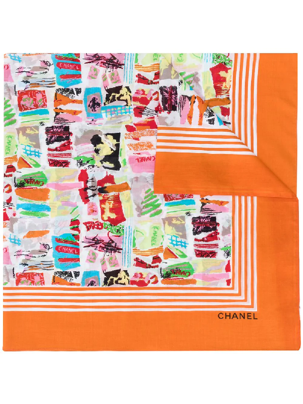 Chanel 1990s Abstract Print Scarf In Orange