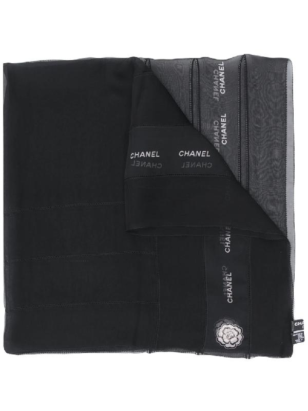Chanel 2000s Logo Print Scarf In Black