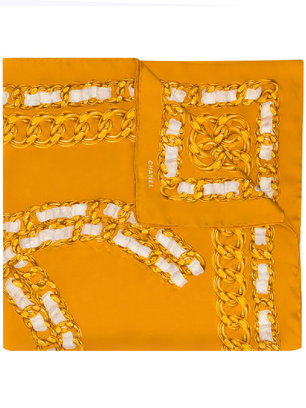 Chanel 1990s Chain Cc Print Scarf In Yellow