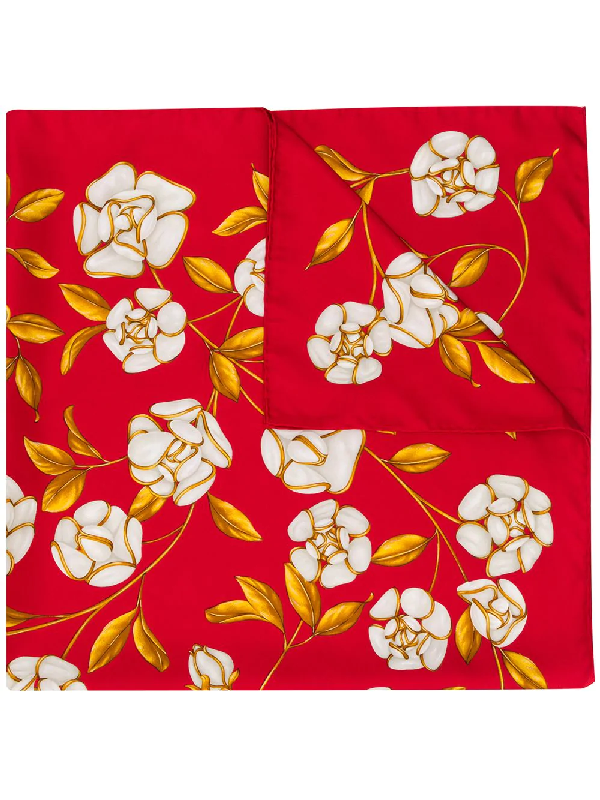 Chanel 1990s Floral Print Scarf In Red