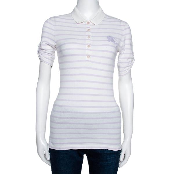 Burberry Brit Off White Striped Cotton Modal Polo T-shirt Xs