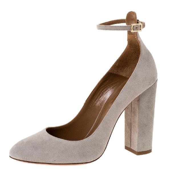 Aquazzura Grey Suede Alix Ankle Strap Block Heel Pumps Size 37.5
