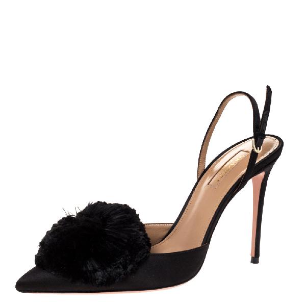Aquazzura Black Satin Powder Puff Pointed Toe Ankle Strap Sandals Size 39.5