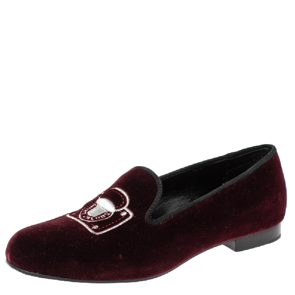 Marc Jacobs Burgundy Velvet Embroidered Smoking Slippers Size 36