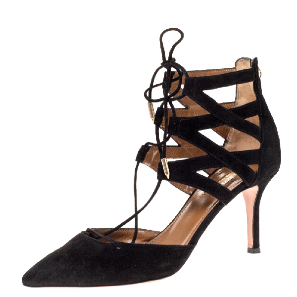 Aquazzura Black Suede Belgravia Lace Up Pointed Toe Pumps Size 37