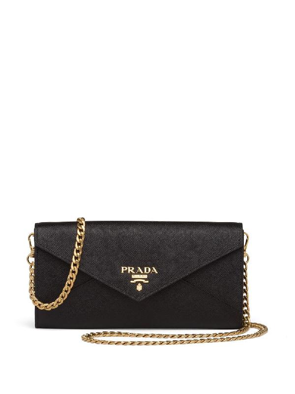 Prada Rectangular Logo Clutch Bag In Black