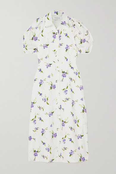 Les Rêveries Cutout Floral-print Cotton-poplin Shirt Dress In White