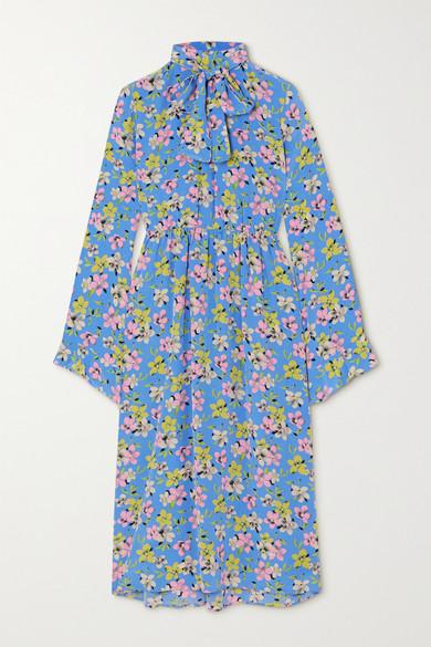 Les Rêveries Pussy-bow Floral-print Silk-crepe Midi Dress In Blue